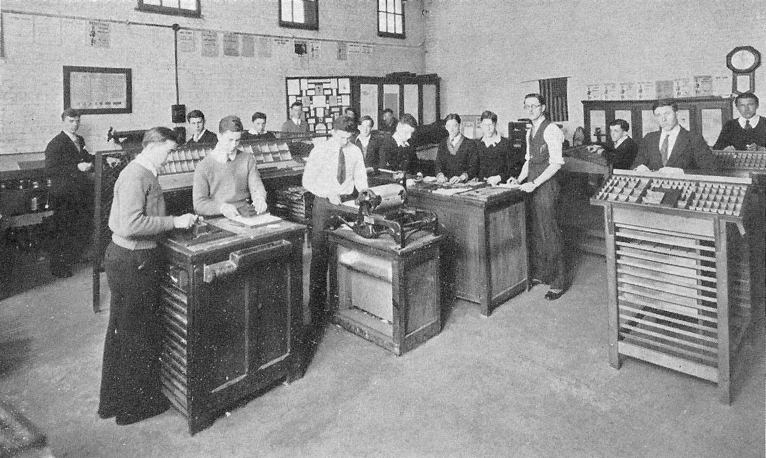 The Whiting High School Print Shop in 1931. Those pictured, left to right: Steve Kompier, Andrew Trgovich, Mike Pawlus, Richard Brown, Steve Mihalso, John Dobrowolski, Mike Evanich, Mike Bondra, Walter Muvich, John Muvich, Dennis Soos, John Hegedus, Myron Springer, B.J. Vesely, Anthony Juriga, Grant Dalton, John Kovak.