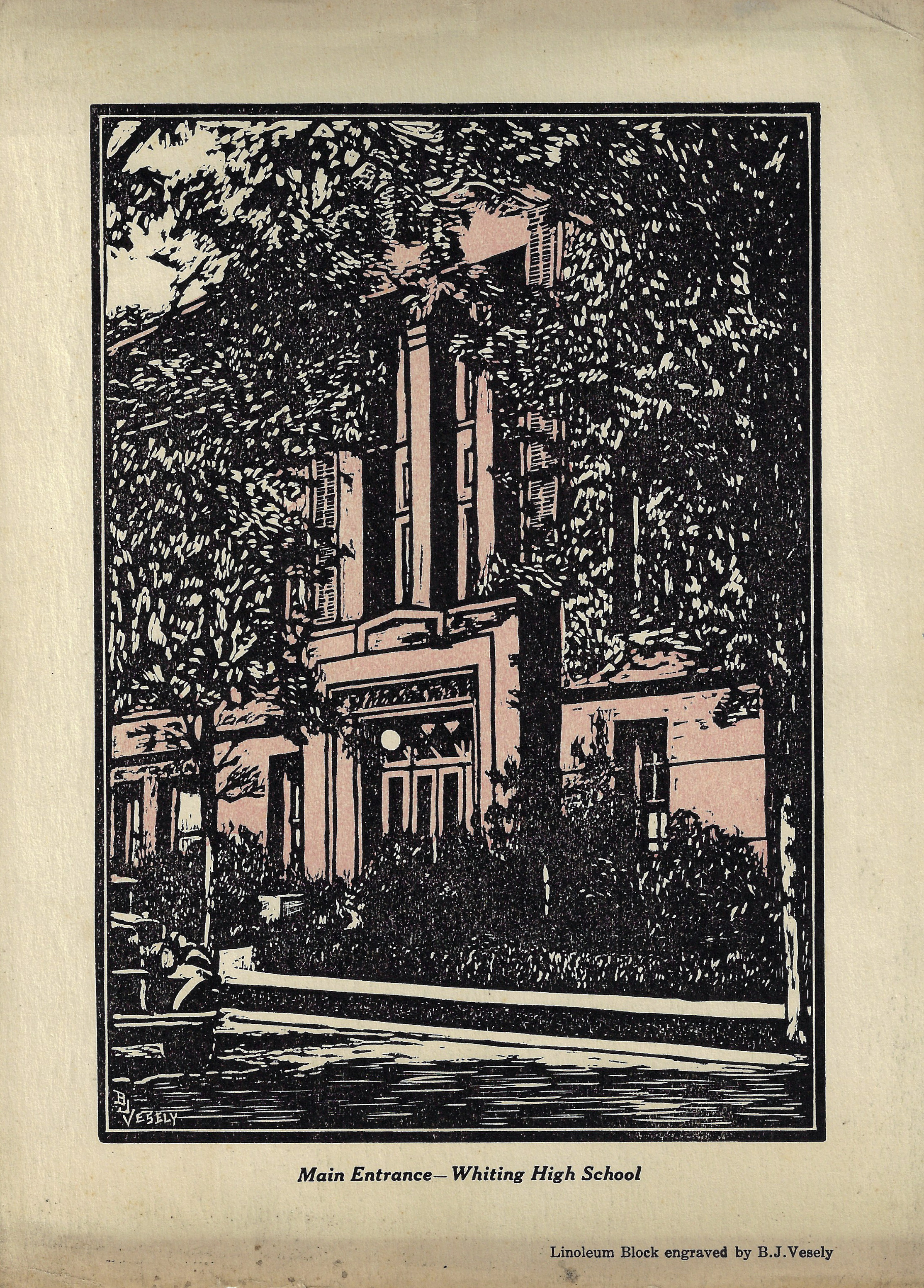 A woodcut engraved by Bernard J. Vesely showing the entrance to Whiting High School.