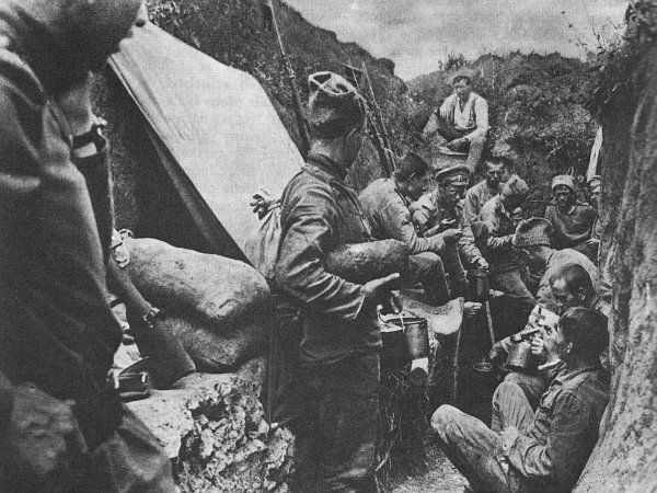 Czech and Slovak soldiers in the trenches at the Battle of Zborov in the Ukraine.