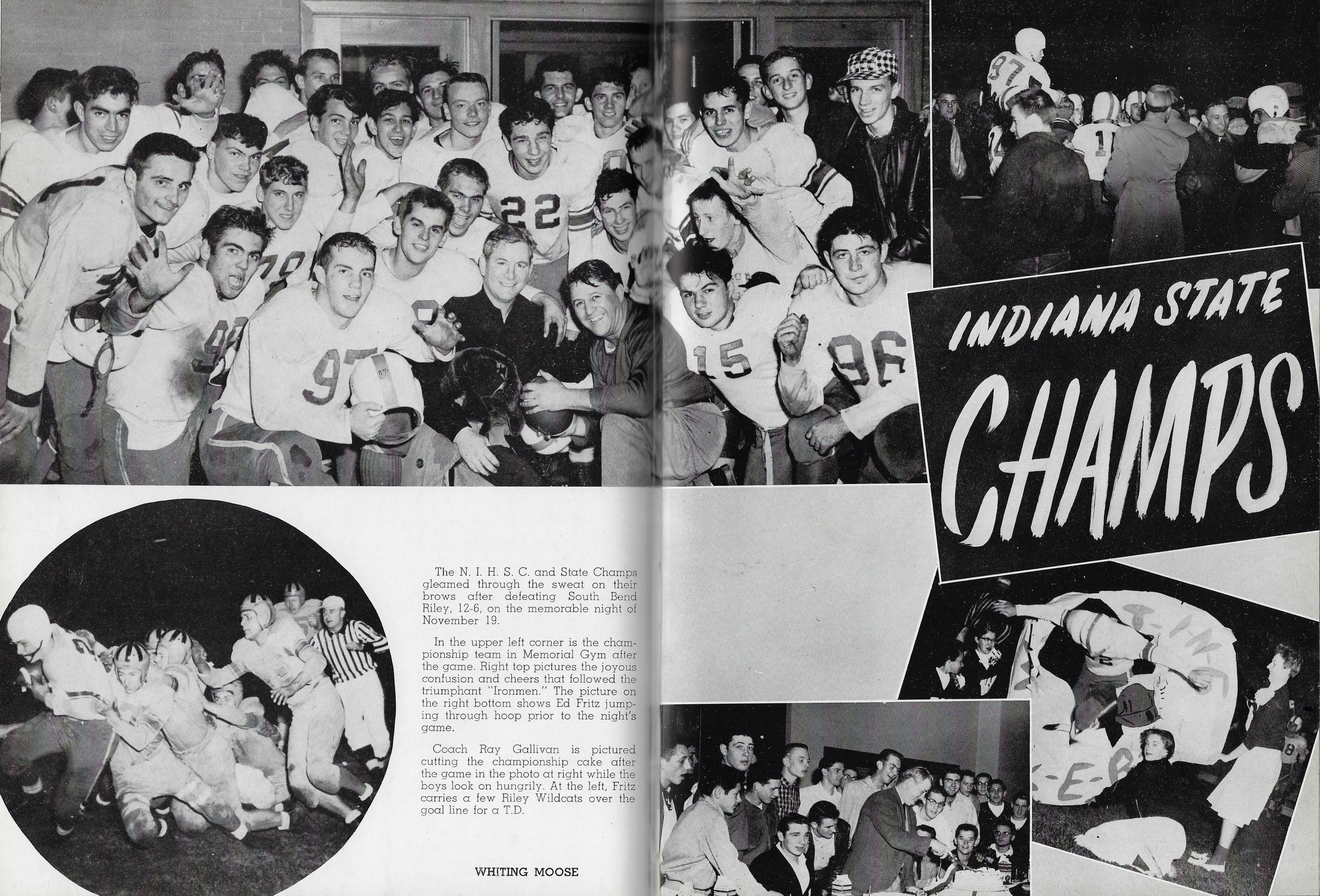 Two pages from the 1955 Reflector, the Whiting High School Yearbook, celebrating the championship 1954 football team.