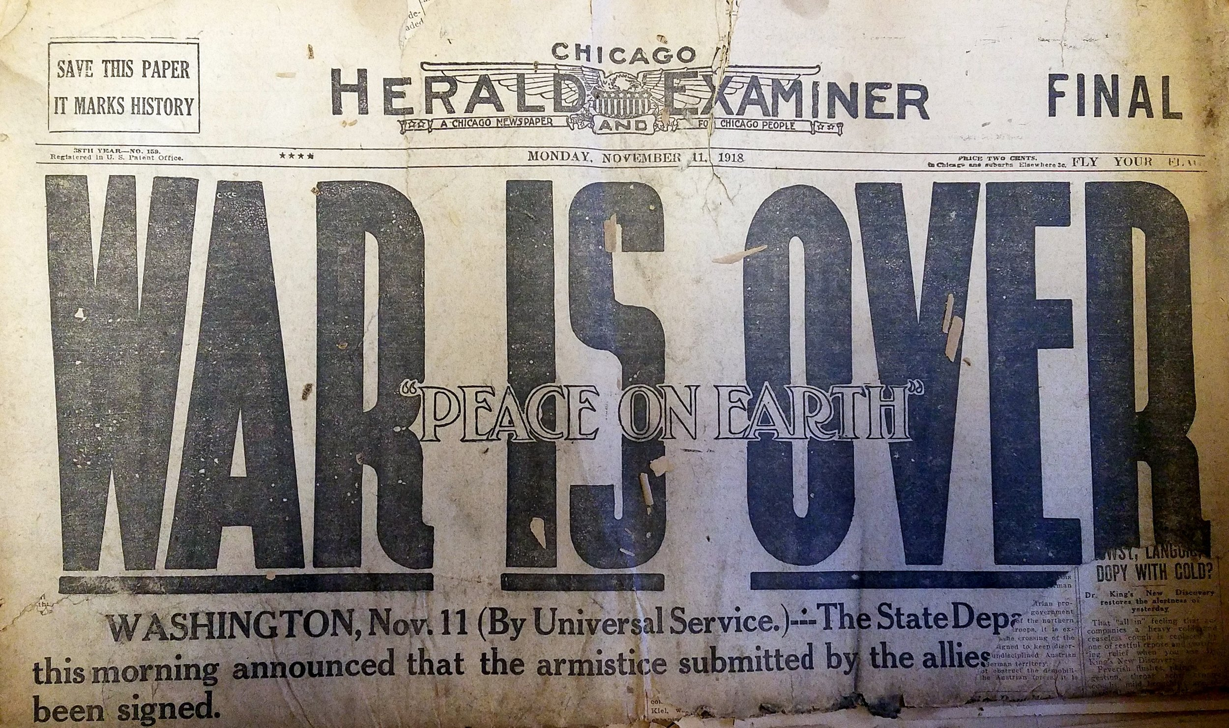 The front page of the Chicago Herald-Examiner on November 11, 1918.