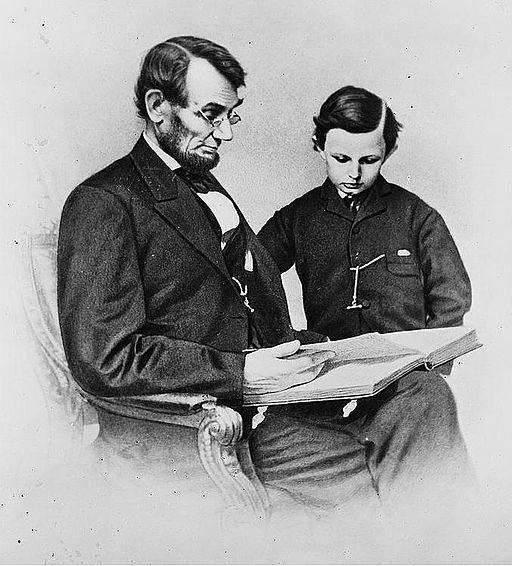 Abraham Lincoln and his son, Tad Lincoln.