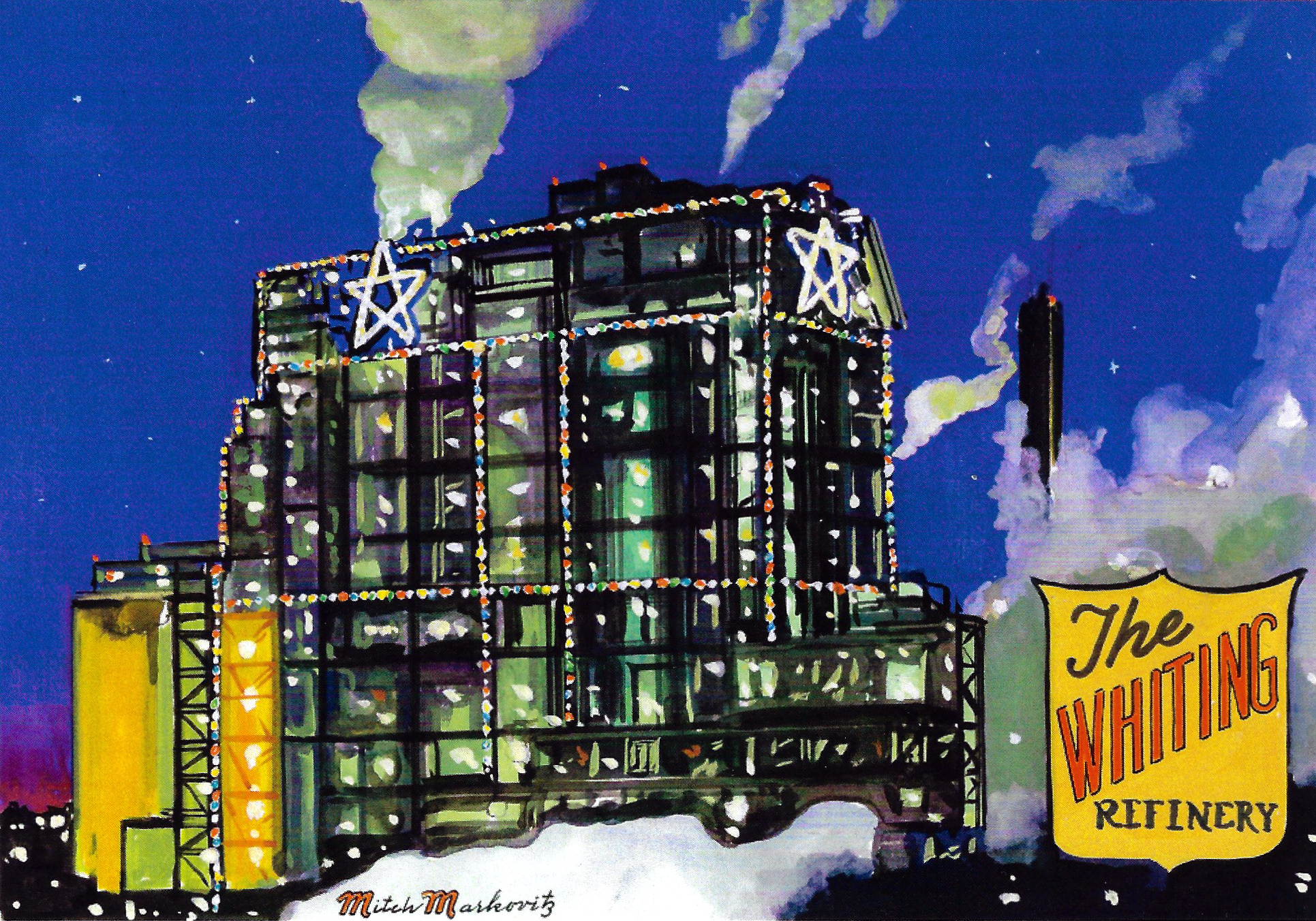 Card #12 in the Life of Whiting Series by artist Mitch Markovitz shows the stars on top of the refinery's cat cracker.