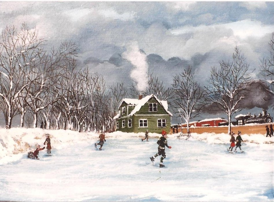 Ice skating on the Whiting Park lagoon is the subject of this painting by Whiting artist Al Odlivak.