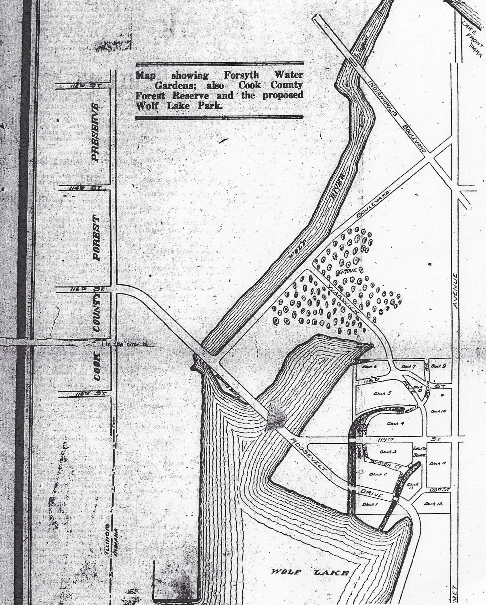 This map appeared in an 1920 ad placed by Henry S. Davidson to promote the Water Gardens. It shows his thoughts on Roosevelt Drive crossing Wolf Lake and connecting with 116th Street in Chicago. It also shows the Water Gardens as the only development on the west side of Calumet Avenue.