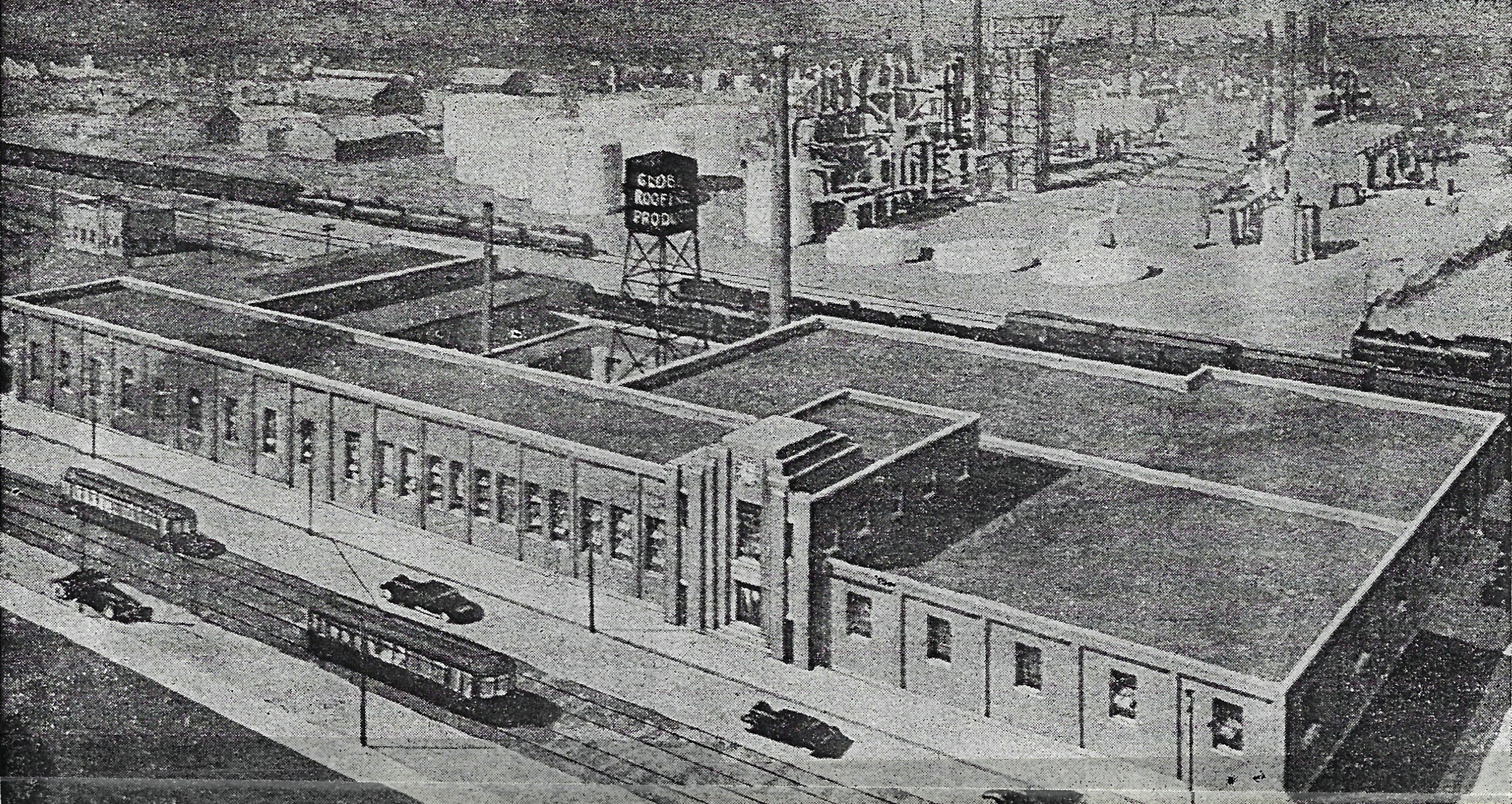 An artist drew this sketch of the Globe Roofing plant before it opened in 1937. Notice the street cars running on White Oak Avenue, in front of the Globe plant.