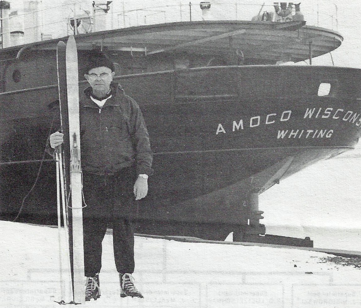 Hans Lund traveled 16 miles on his skis to get to his job after the storm hit. He was the captain of the Amoco Wisconsin.