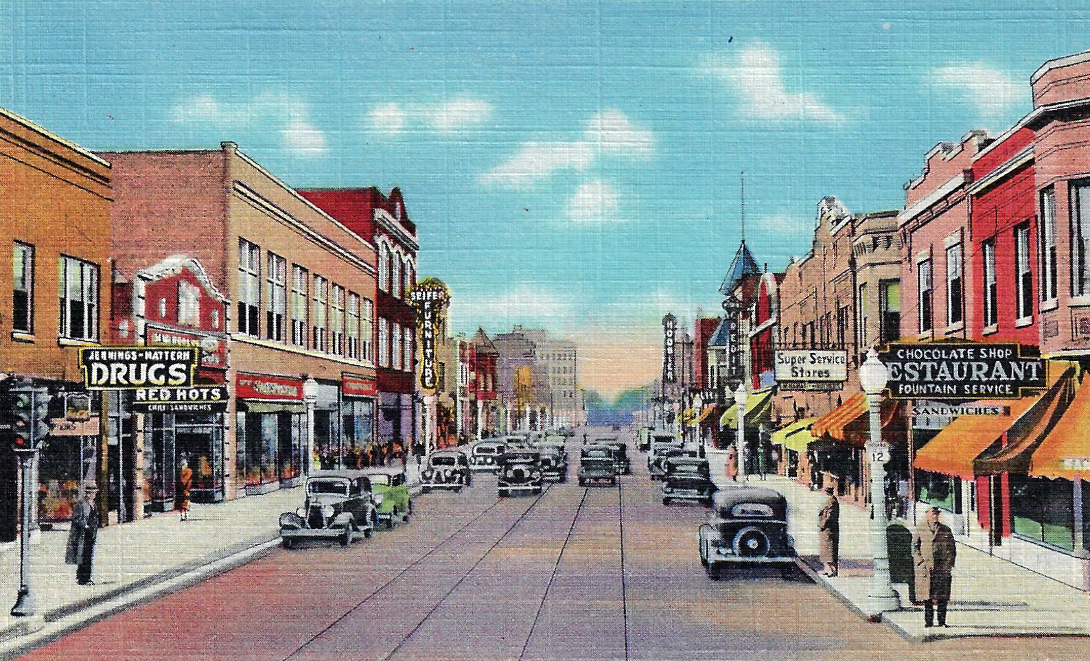 This early 1930s post card shows 119th Street from Oliver Street, looking west. The Jennings-Mattern Drug Store is to the left. Further down the streets are signs for the Hoosier Theatre and Seifer's Furniture. The Chocolate Shop sign to the right is the current location of Comfort Roast coffee shop.