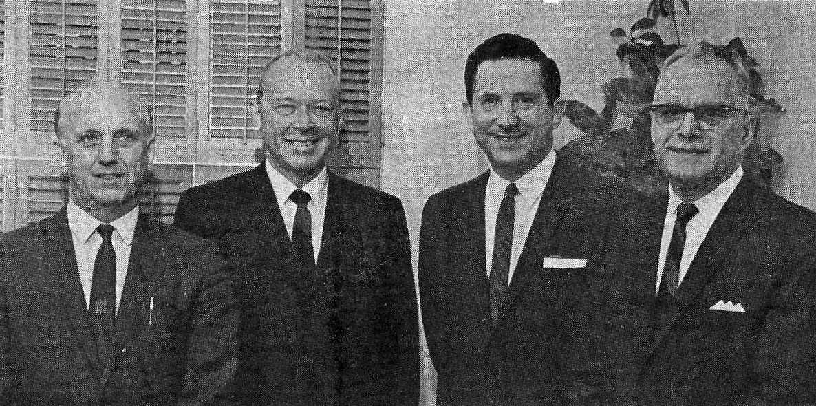 Downtown Whiting was home to numerous attorneys from its earliest days through the 1970s. All four in this 1968 photo had their offices downtown. They are, left to right, George Pate (1522 119th Street), William Belshaw and Ben Danko (both at 1450 119th Street), and Walter Keckich (1449 119th Street). (Times-Grafic photograph)