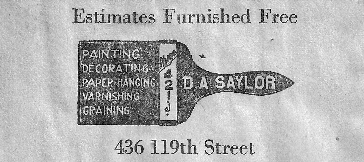 Home improvement shops were another common sight in downtown Whiting. There were awning shops, hardware stores, paint stores, plumbers and more. Saylor's was a paint shop at 1504 119th Street, but its history in Whiting went much further back. This is an ad from 1926.