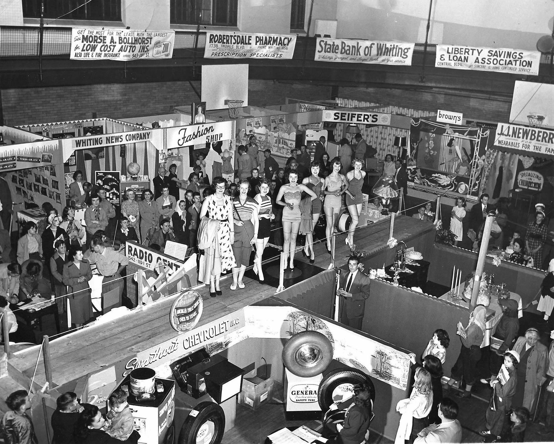 In 1957, the Whiting Community Center hosted the Merchants and Industrial Exposition. There were fashion shows and other performances, as well as displays by area merchants, both those with shops on 119th Street and other parts of Whiting-Robertsdale. (Elsie Boness photograph)