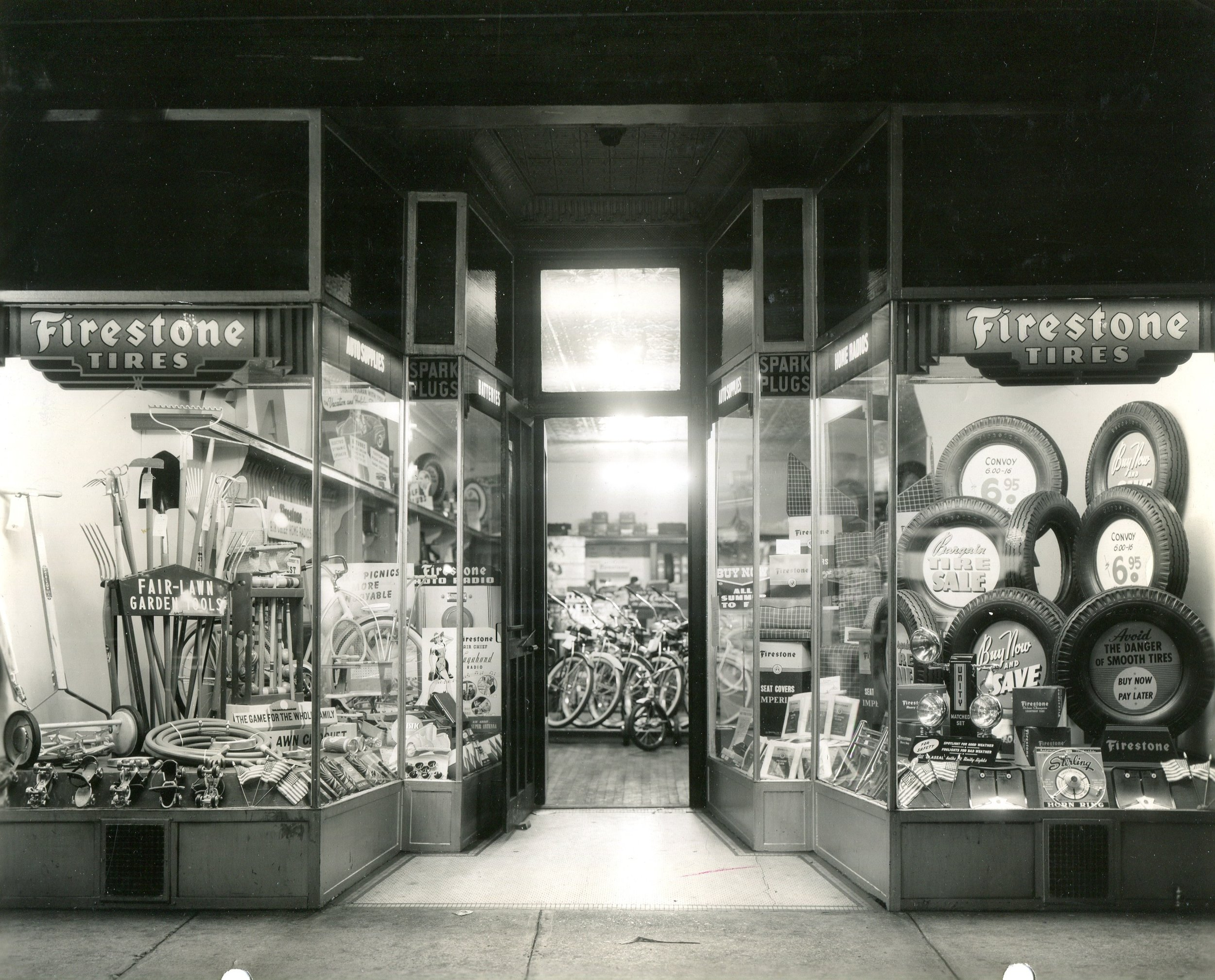 Neal Price's Firestone Store sold tires for your car, garden tools, bicycles, phonography records, and much more at its location ay 1309 119th Street. This photo is from 1957. (Elsie Boness photograph)