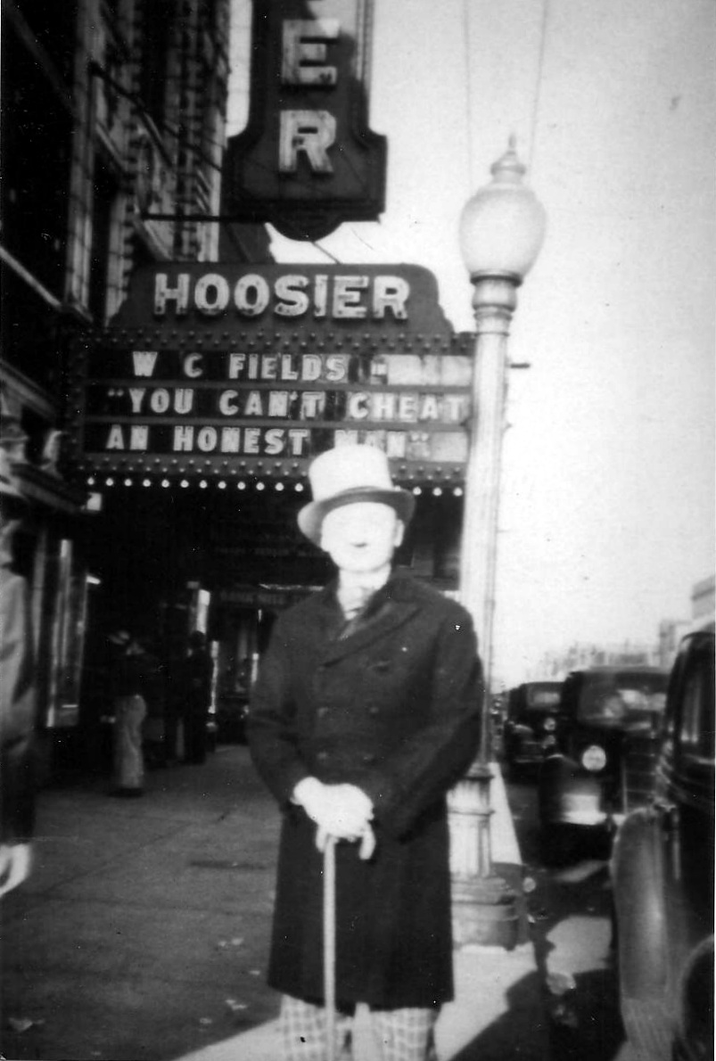"To promote the movie comedy ""You Can't Cheat an Honest Man,"" the Hoosier Theatre had a W.C. Fields look-alike on the sidewalk outside. Fields starred in the 1939 film."
