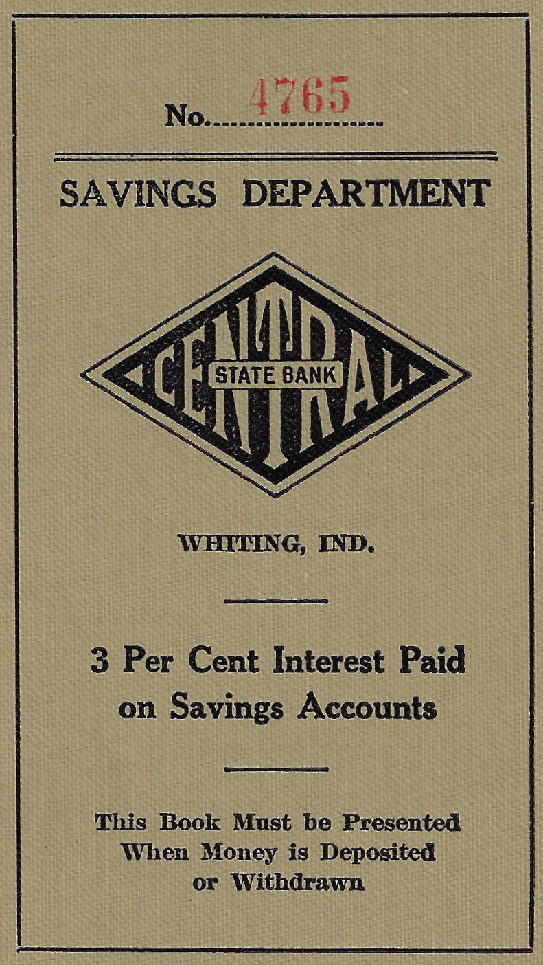 A deposit book for a Central State Bank savings account.