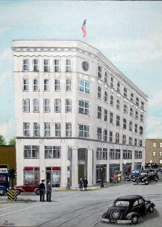 During its prime, the Central State Bank was Whiting's most impressive building, shown here in a painting by Whiting artist Al Odlivak.