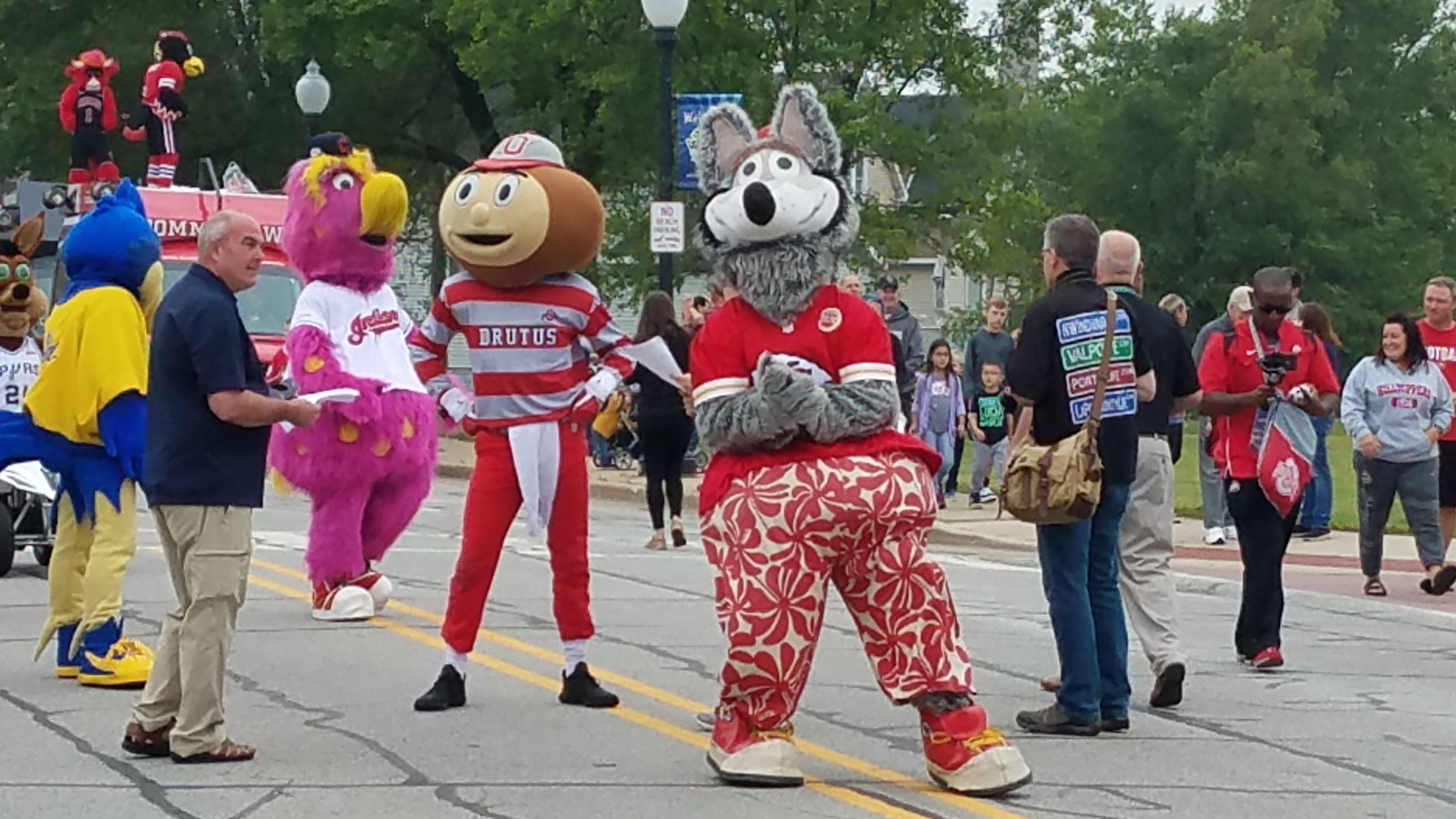 KC Wolf of the Kansas City Chiefs, Brutus Buckeye from Ohio State University, and Slider of the Cleveland Indians walk down 119th Street as part of the Hall-of-Fame induction weekend fun at the Mascot Museum in Whiting.