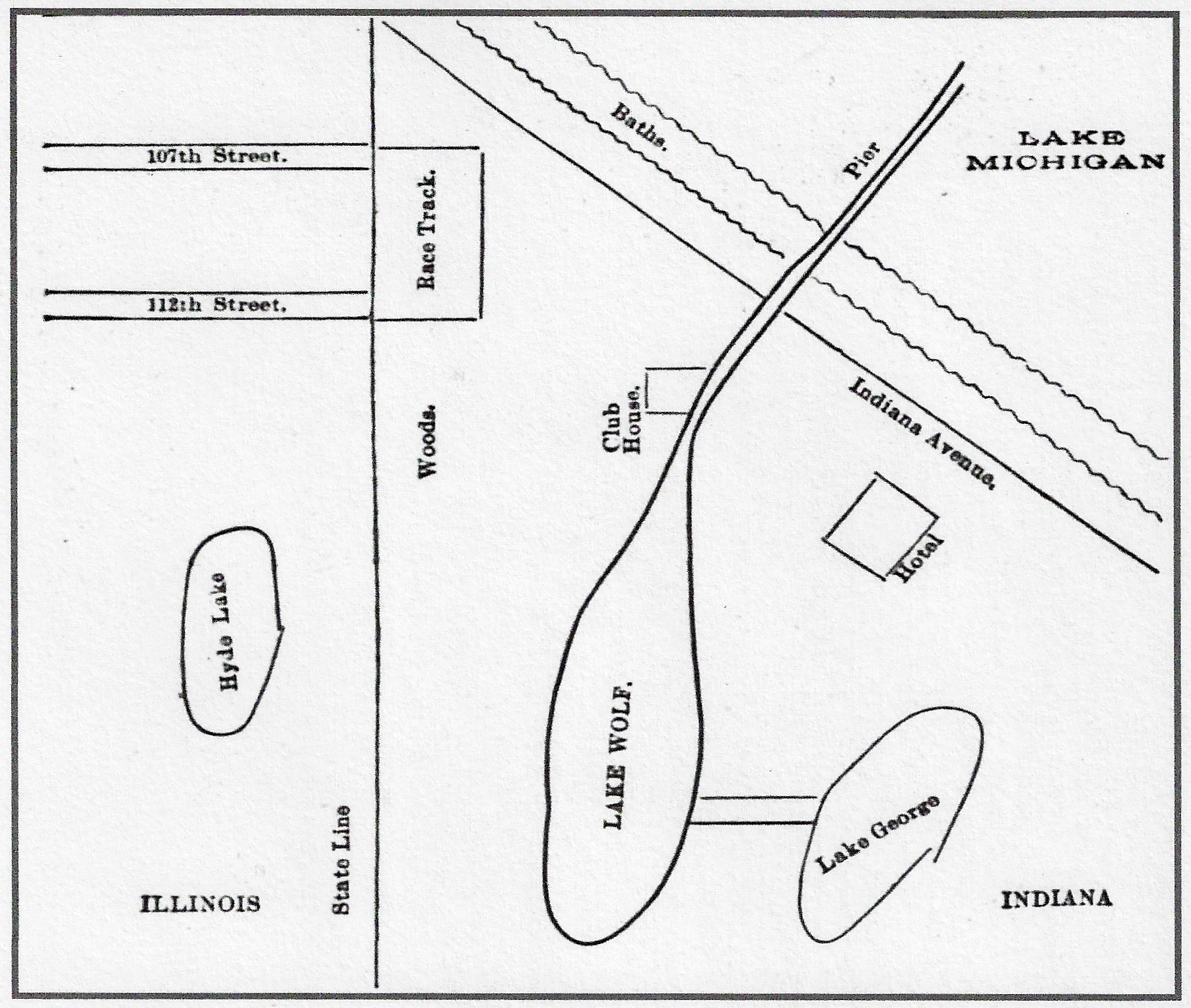 This map, from an 1892 edition of the Chicago Inter-Ocean newspaper isn't precisely drawn. Wolf Lake, for instance, is in both Illinois and Indiana. But it gives a rough idea of not only where the race track was located, but also for some of the plans the developers of the track initially talked about, such as the hotel and club house. Hyde Lake no longer exists, filled in many years ago, but the woods south of the track remain as the Cook County Forest Preserve. The land where the track stood was very sandy, with numerous small oak trees on it.