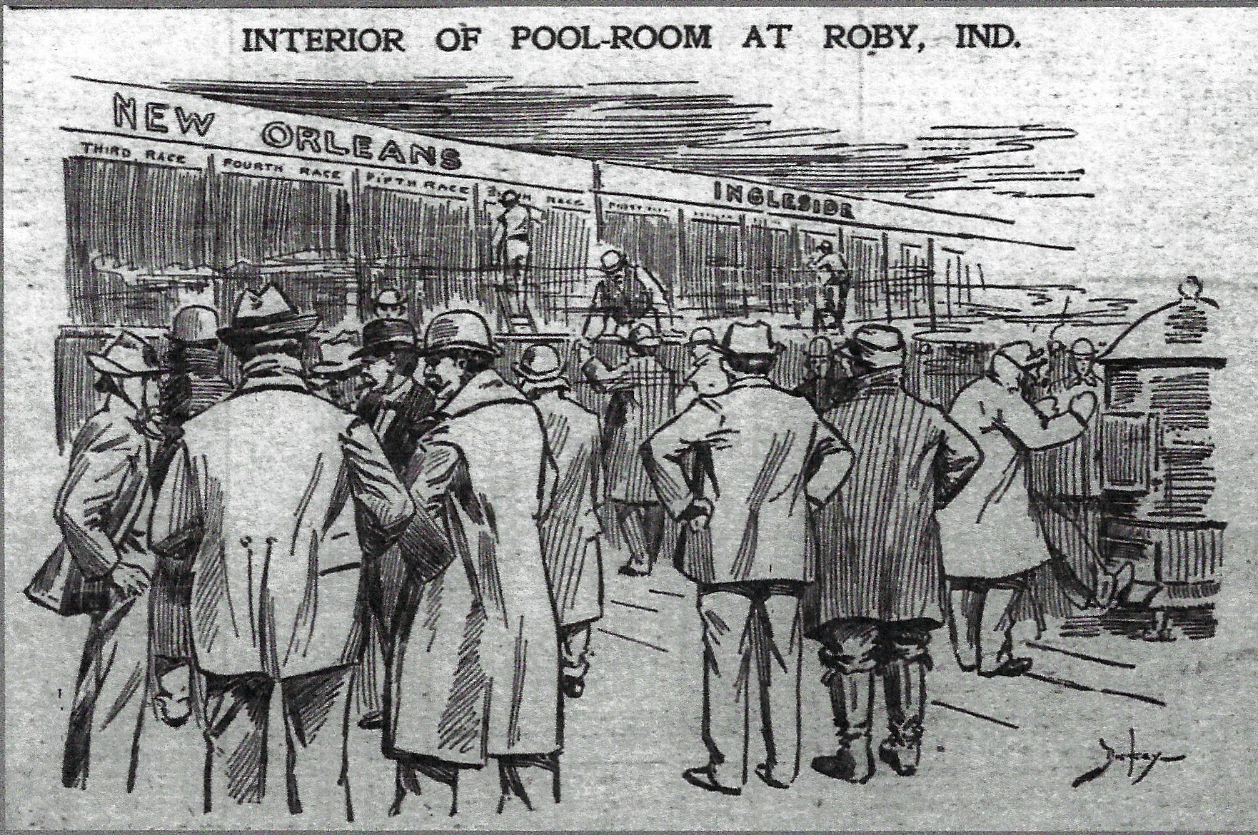 """A pool room, in the late 1800s, was a place where bookies would pool the money of gamblers for the purpose of making bets. This is what the pool room looked like in Roby, drawn by an artist for the Chicago Inter-Ocean newspaper in 1899. Near the top of the drawing are the words """"New Orleans"""" and """"Ingleside."""" Those are names of tracks where races were being held on that day. Below those names are blackboards, staffed by men writing the names of the horses and jockeys in those races, the odds for each horse, weather conditions at the track, and other information gamblers needed to make their bets. In the language of the time, betting on races held outside your own track was called betting on """"foreign"""" races. Today it is called """"off-track"""" betting. Notice the furnace on the right side of the image, providing heat for the gamblers, since the races at Roby were held in the winter months."""