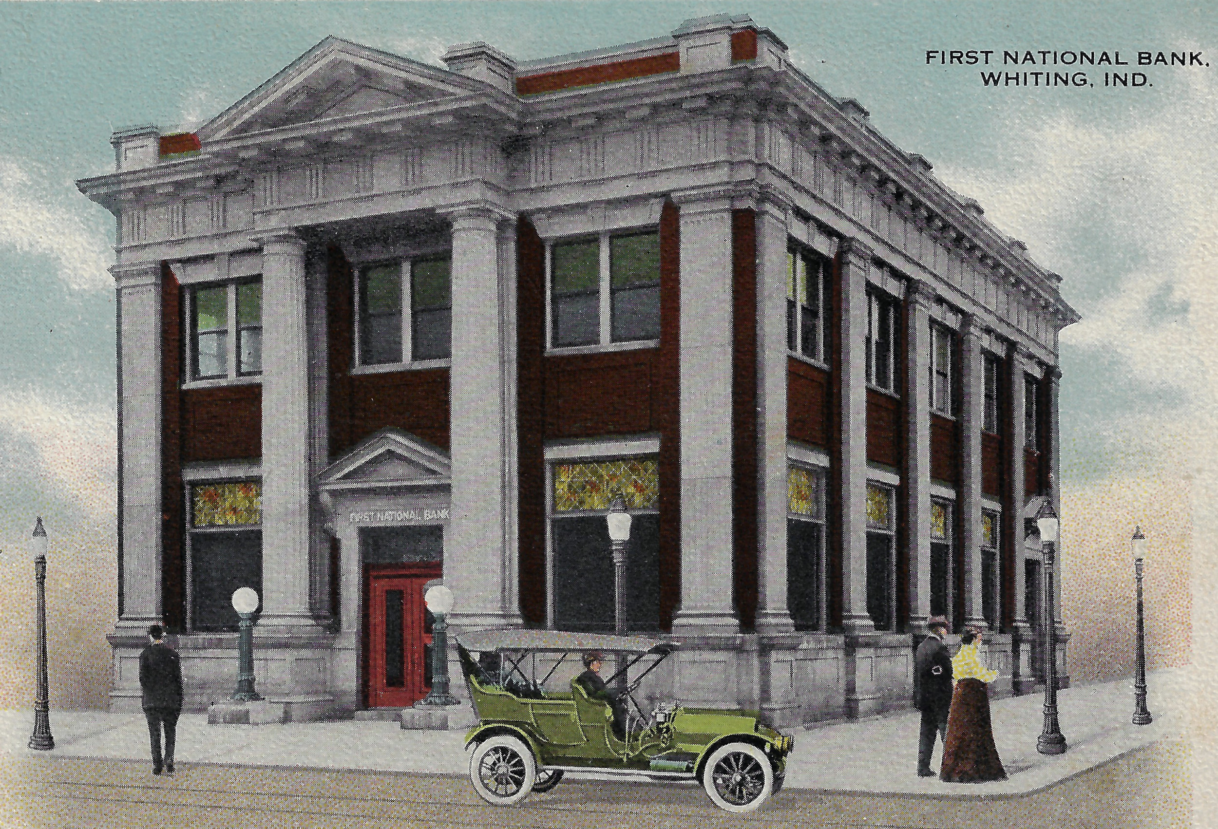 A postcard shows the bank before it opened in 1915. The electric lamps on both sides of the bank were an uncommon sight in those years in Whiting.