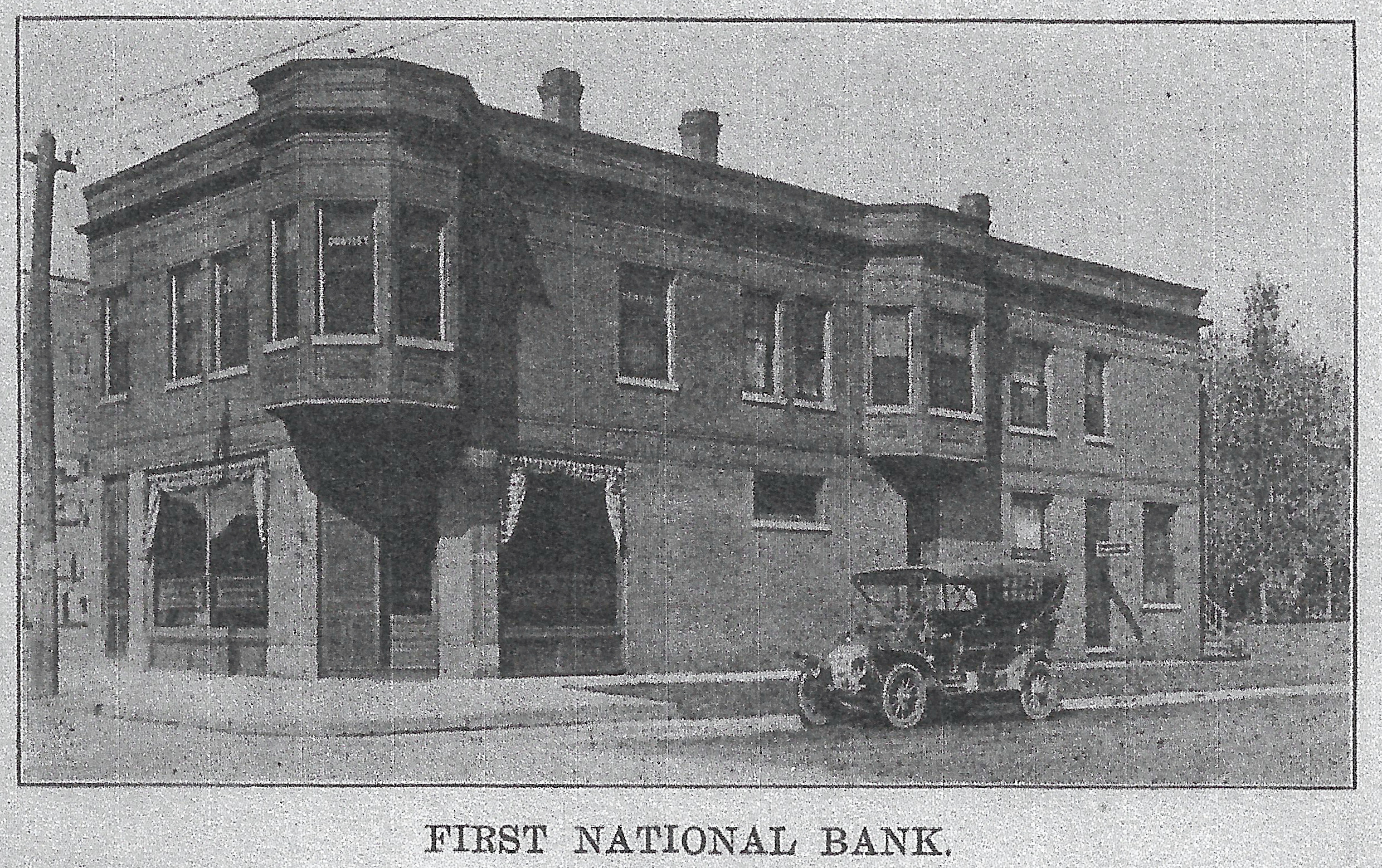 A dentist, Dr. G.S. Hilliard, built the structure which still stands on the northwest corner of 119th Street and Oliver. His offices occupied the upstairs. In the back part of the ground floor was a doctor's office, while the front part was the first home of the First National Bank of Whiting. The bank operated in this building from 1902 until its official opening in 1915 in its new building, at the northwest corner of 119th and New York.