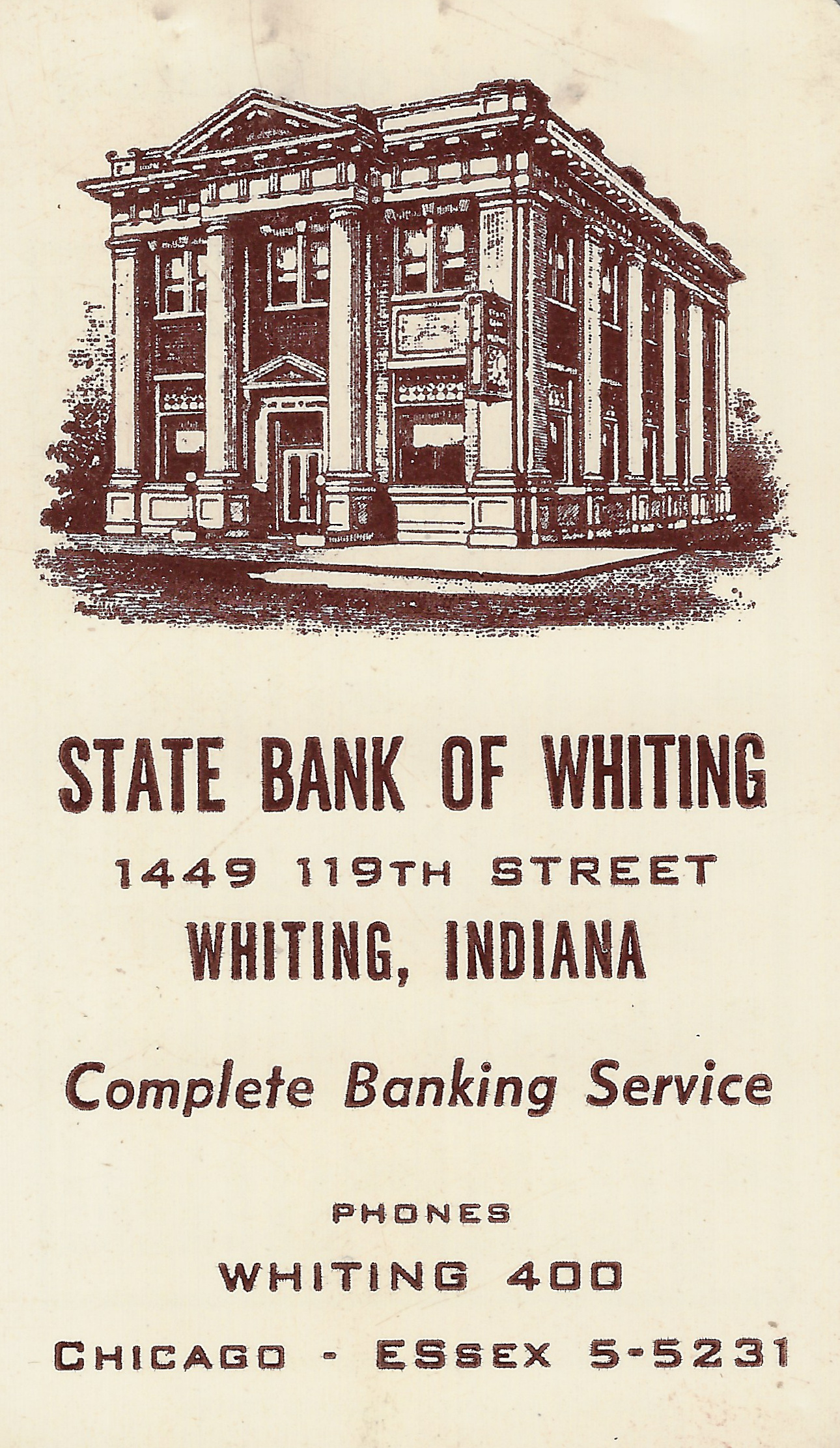 The State Banks of Whiting often used its building as an image in its promotional pieces, as can be seen in this pocket calendar from 1957.