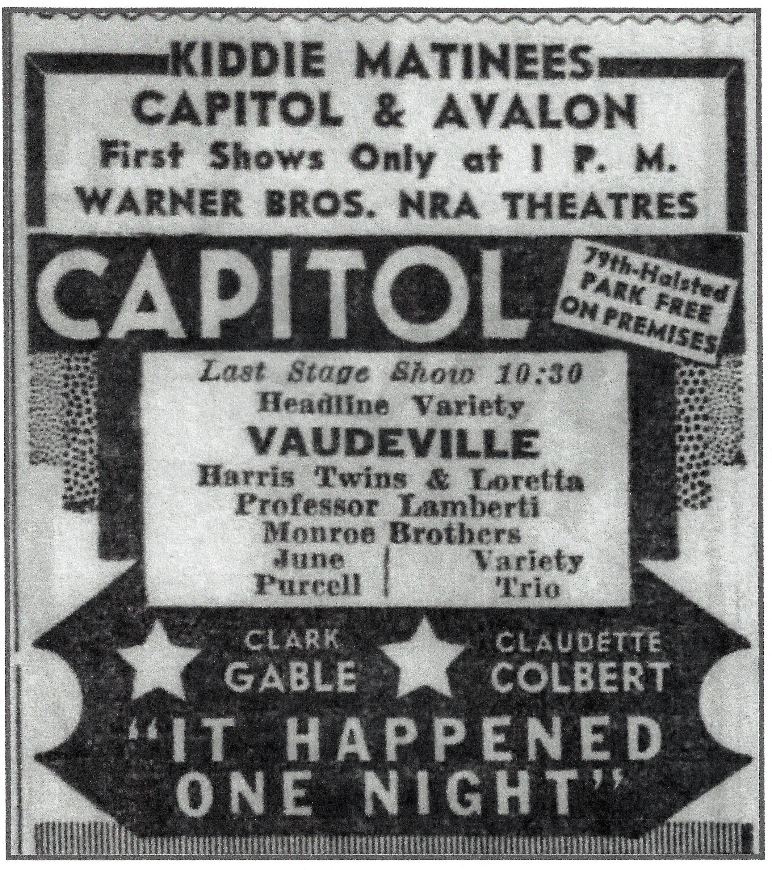 After gaining popularity by playing at dances, in churches, at birthday parties, and for events sponsored by local organizations, the Monroe Brothers spread out beyond Northwest Indiana and started appearing in Chicago. That included appearances on the vaudeville stage, at a time when they were still near the bottom of the bill. This ad is from 1934.