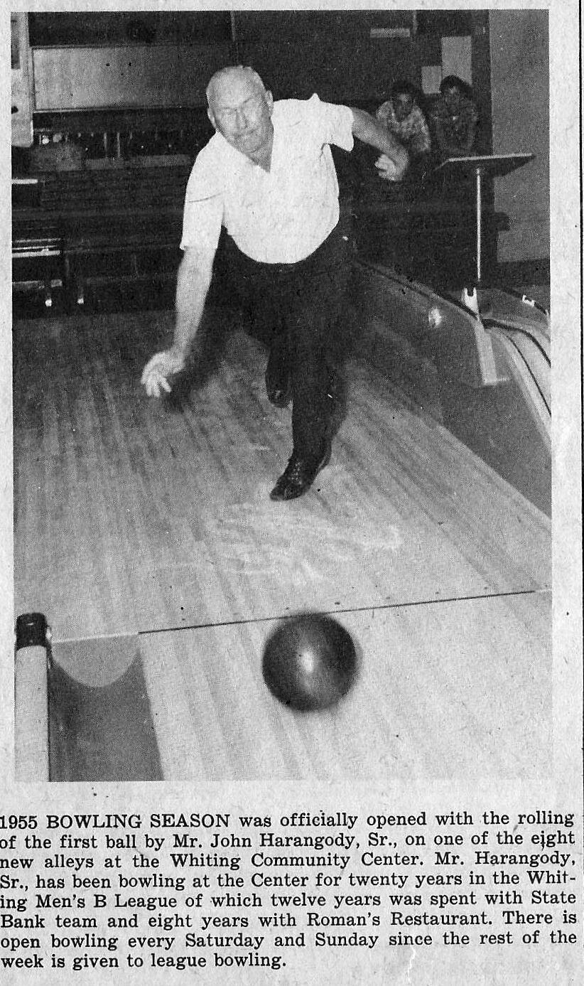 A 1955 photo from the Times-Grafic, which shows the bowling alley that was once in the Community Center. You can hear stories of the bowling alley from Al Koch, a former pin setter at the alley, on the tour of the Community Center on Saturday, September 28.