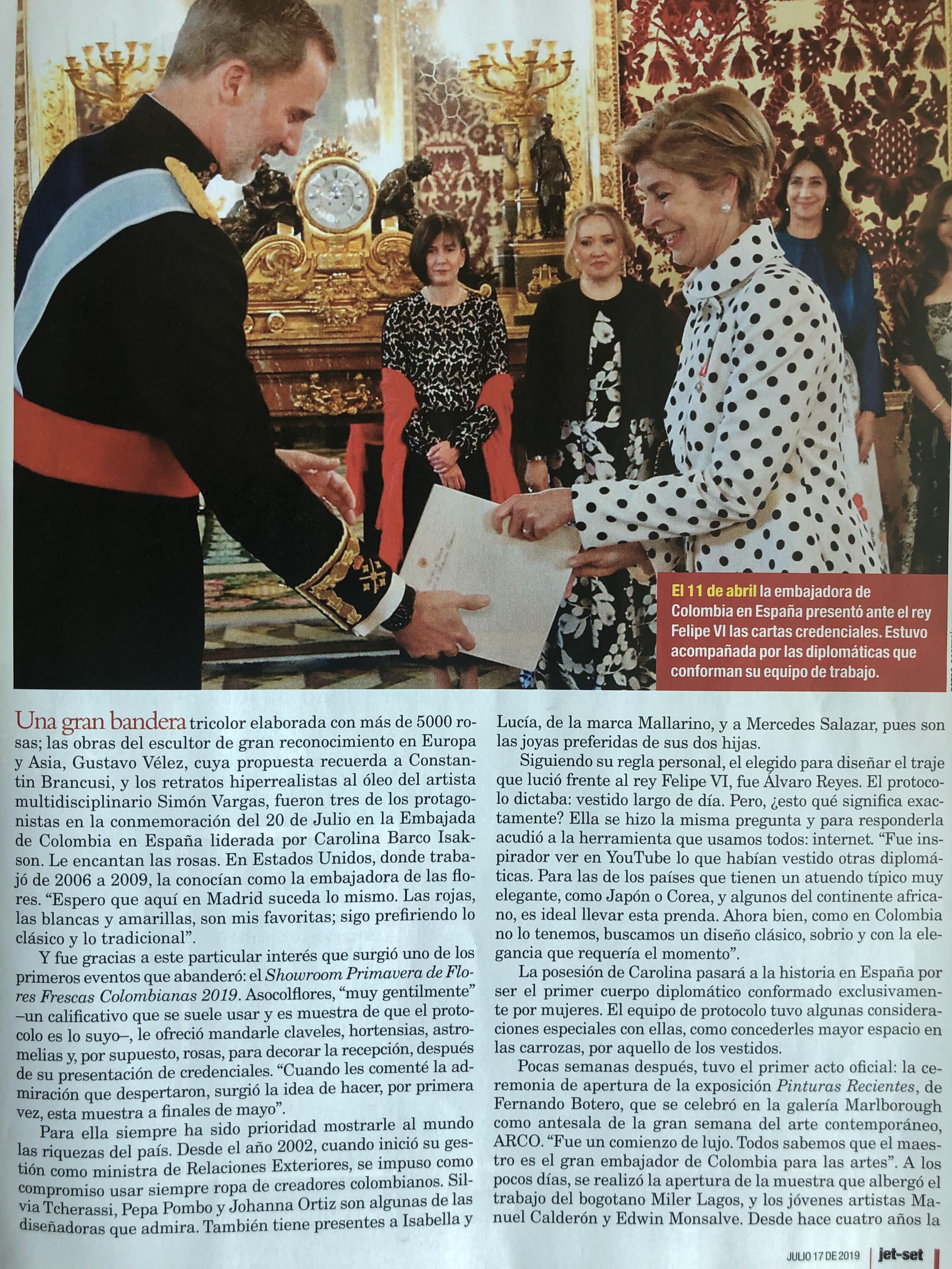 Coverage in JETSET Magazine of Simon's show at the Colombian Embassy in Madrid, Spain July 2019