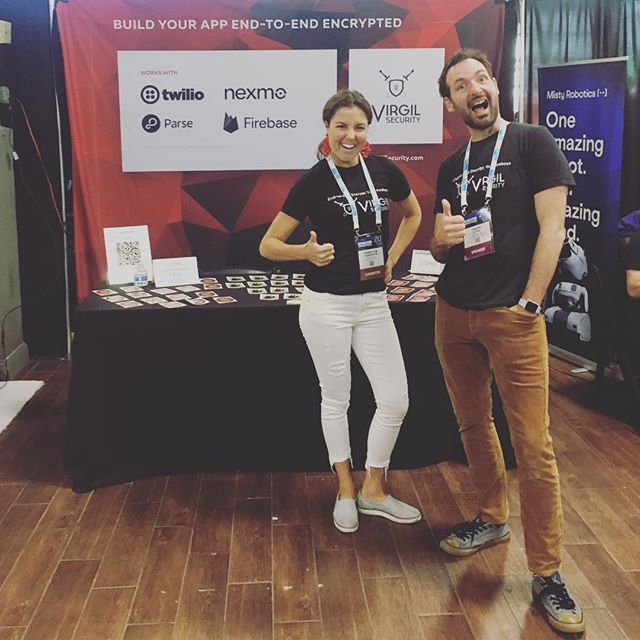 The Virgil Security team gives two thumbs up for stop three of the #VirgilWorldTour at @developerweek! Come see us at the @brooklynexpocenter and talk end-to-end encryption. #DEVWEEKNYC