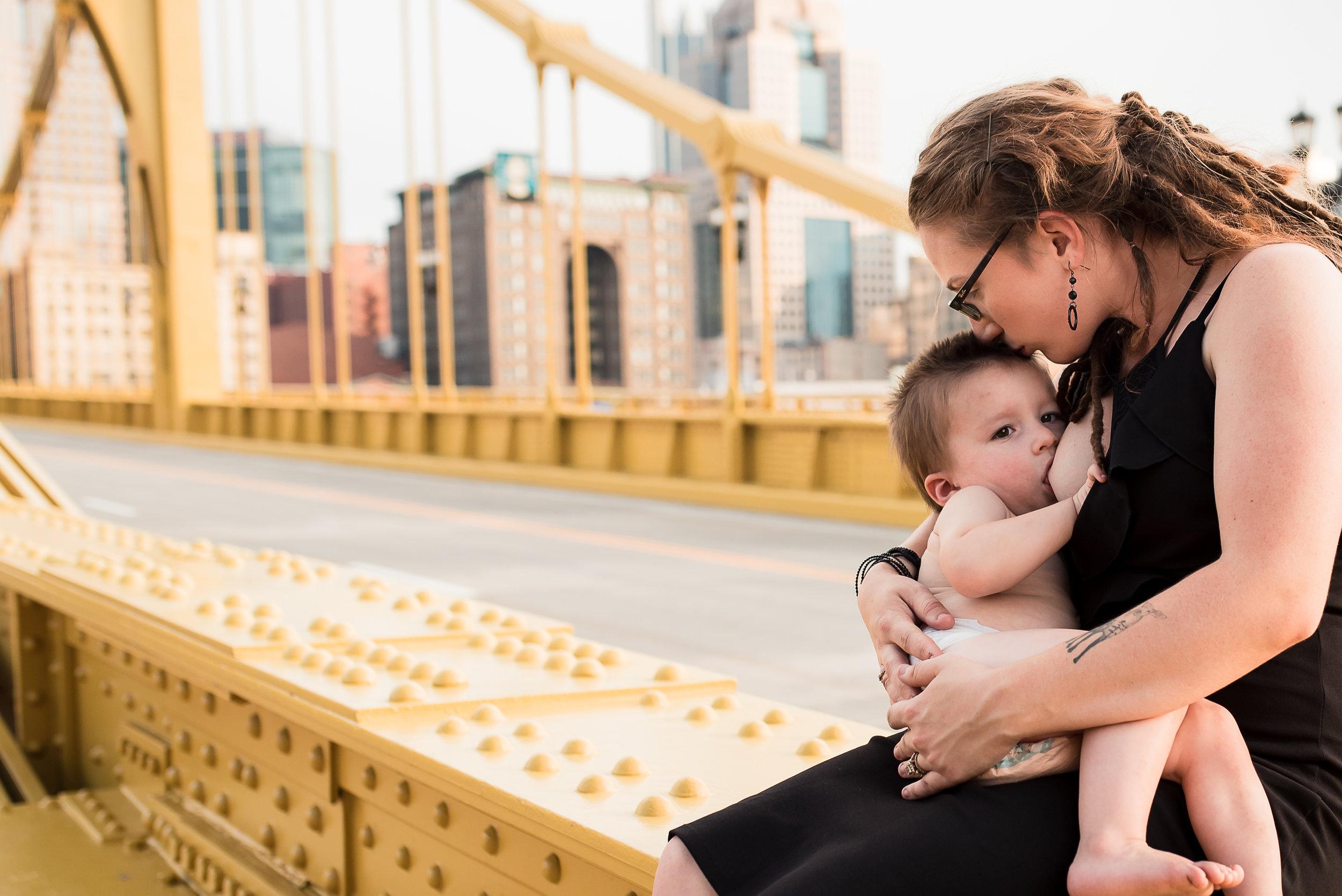 kissing nursing mother