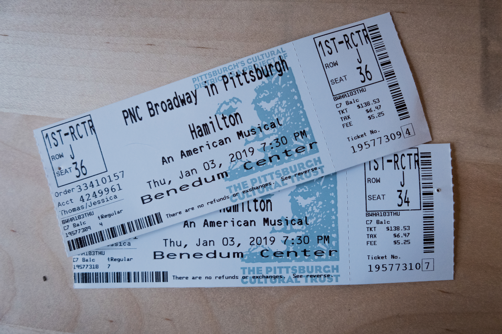 Concert tickets for Hamilton Pittsburgh