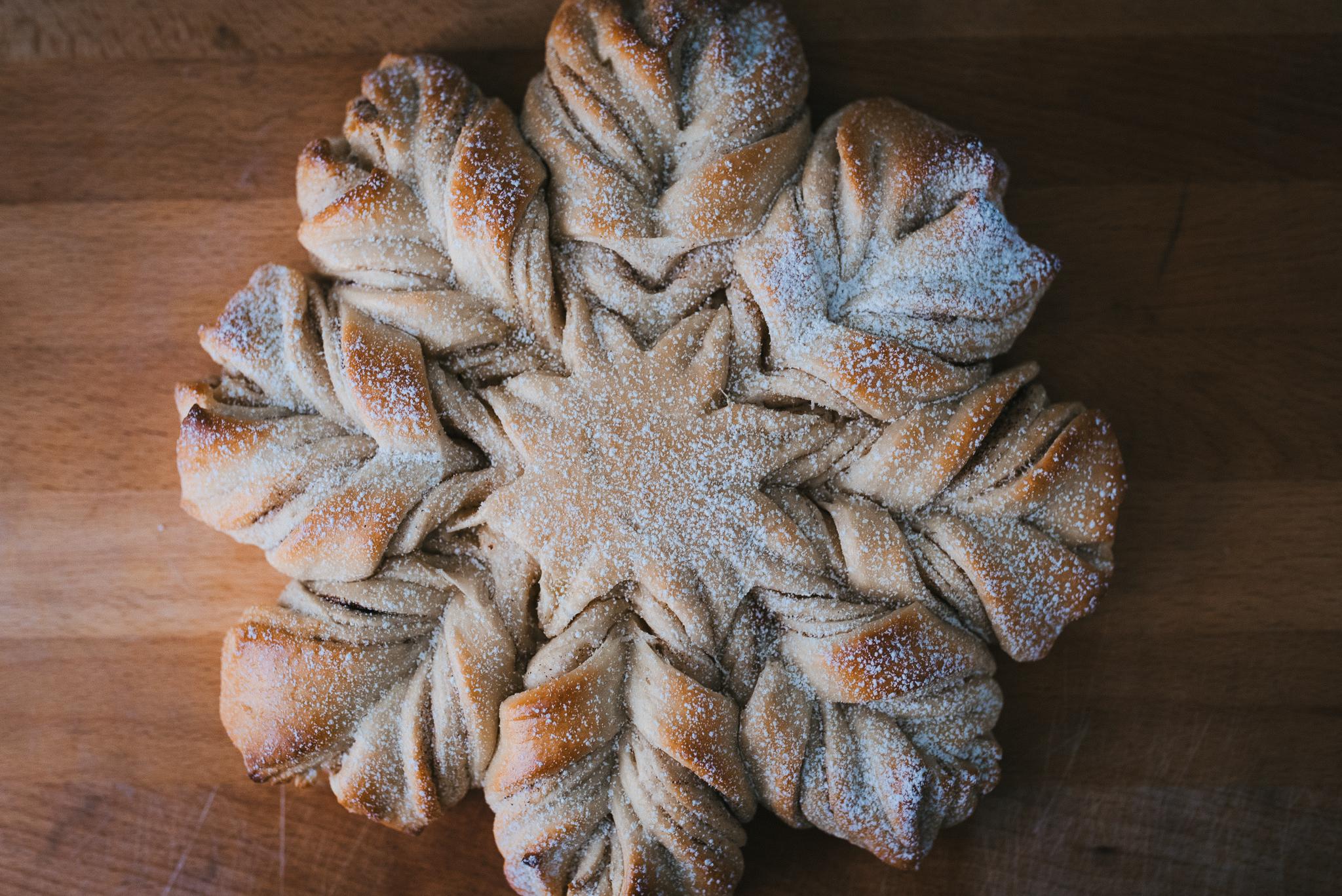 star bread freshly baked