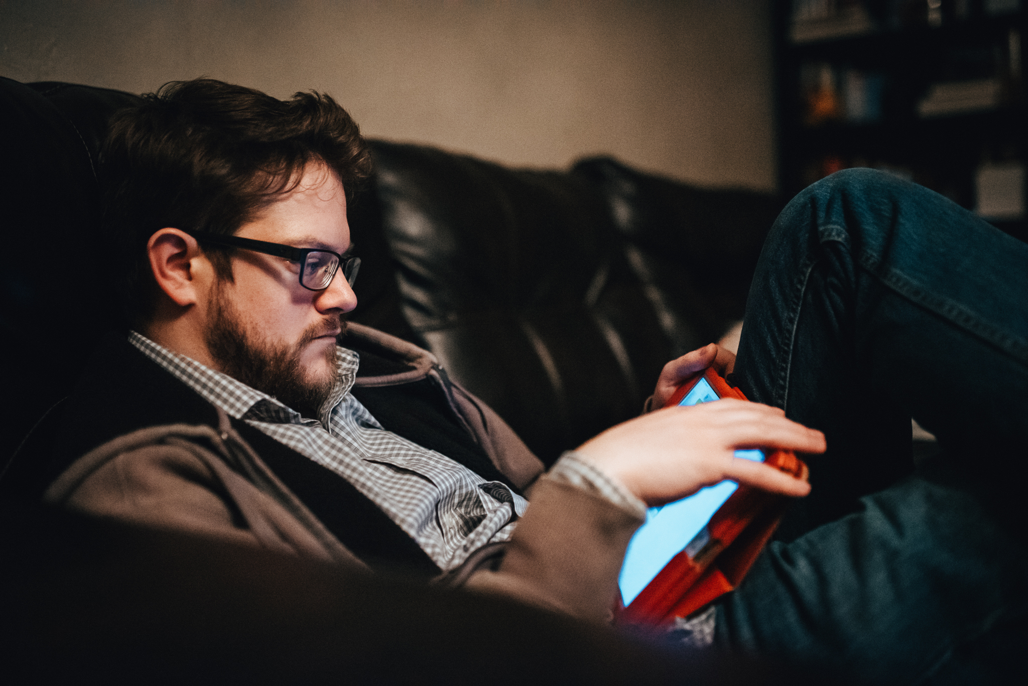 man on tablet