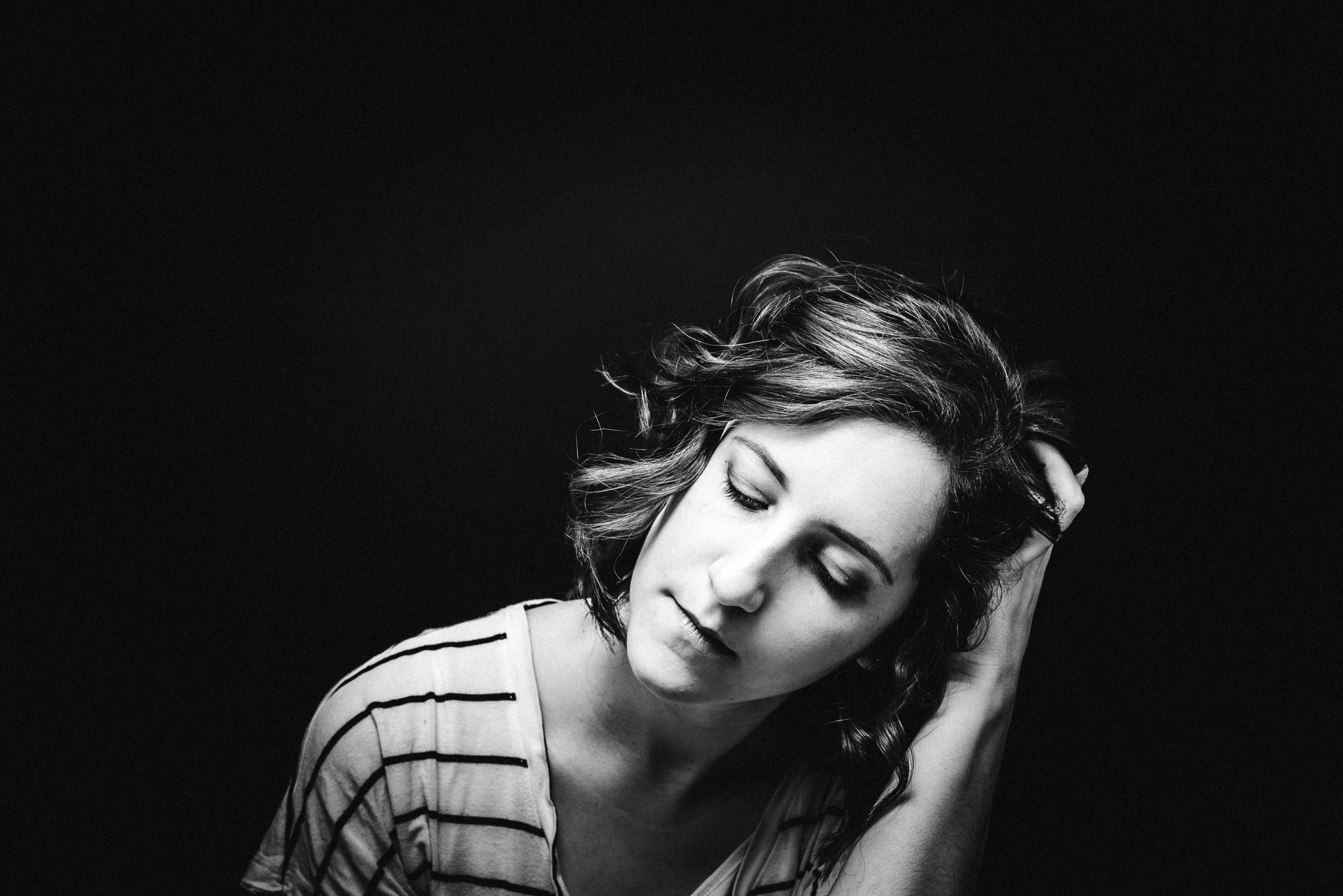 woman in black and white portrait