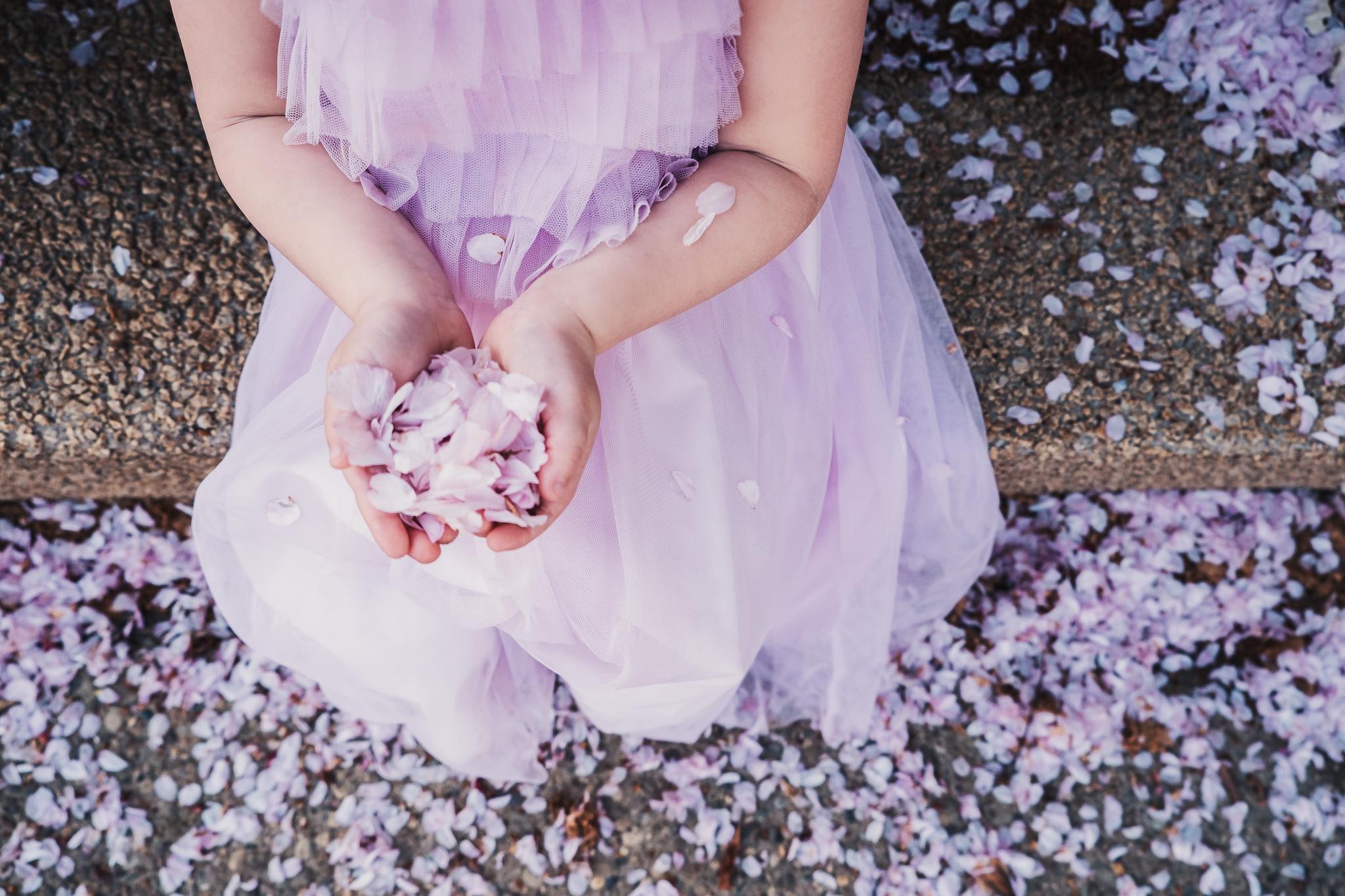 flower pedals in girls hand