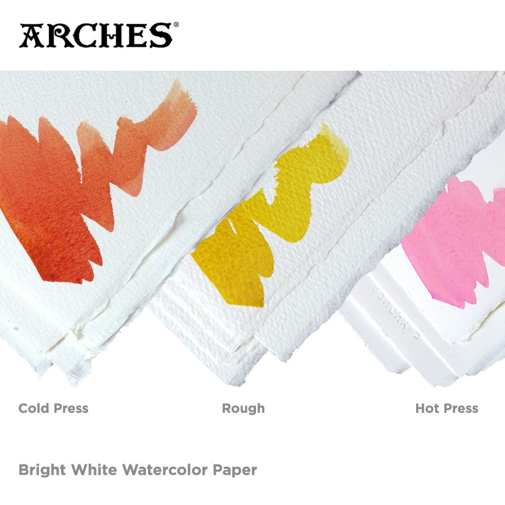 BRIGHT WHITE ARCHES PAPER - Colors look more luminous on bright white paper than the traditional white/cream color shown above.Rough or Cold Press watercolor paper has a ridged/textured look and feel. The Rough Press will be more textured than the Cold Press.Hot Press watercolor paper is smooth, and a bit more modern-looking, I think.