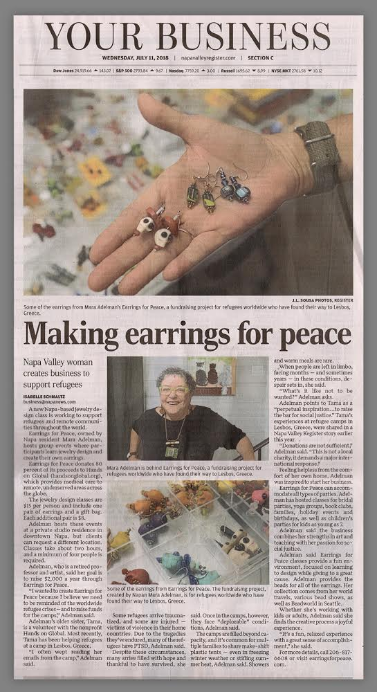 The Napa Valley Register featured Earrings for Peace in July, 2018.