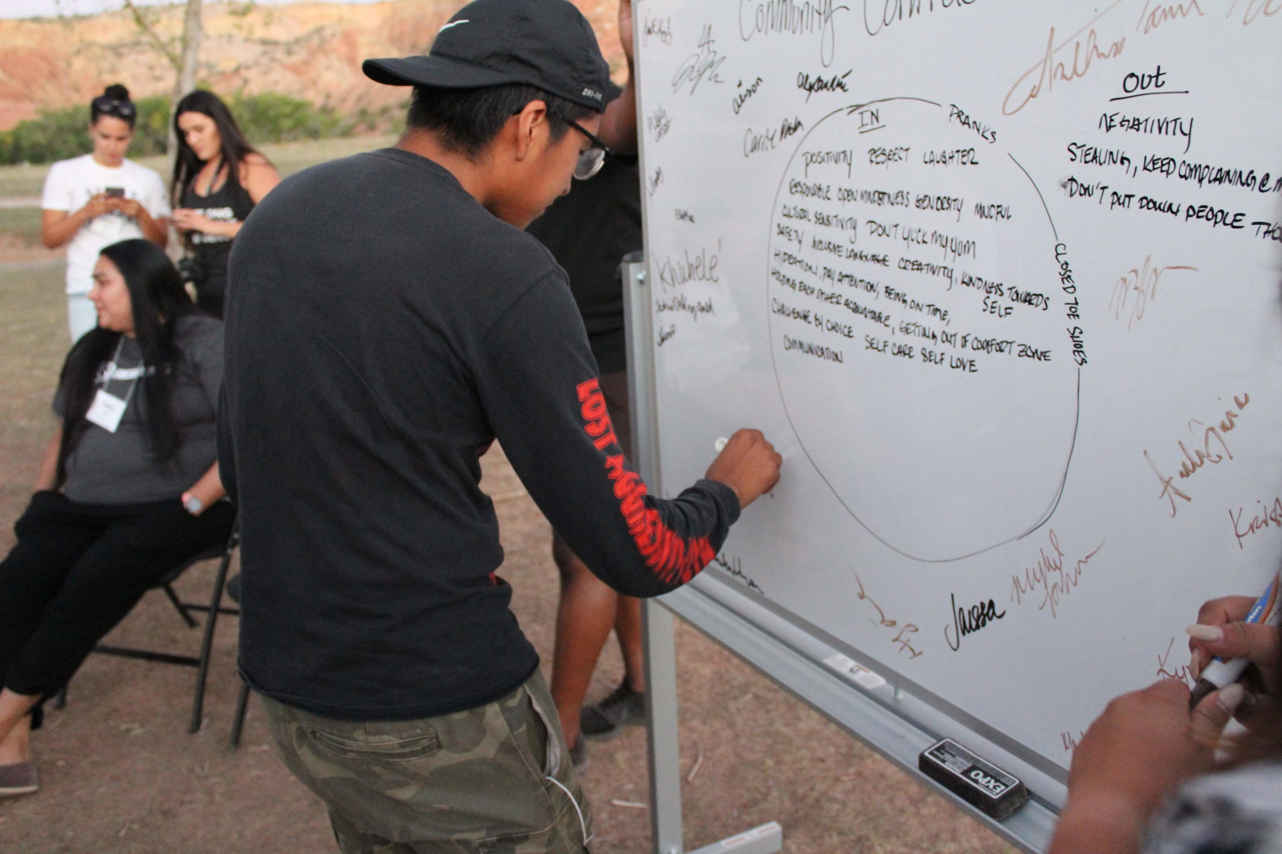 Fresh Tracks participants sign the community contract on the first day of the Southwest and Intermountain Training at Ghost Ranch in Abiquiú, New Mexico.