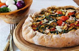 Easy Pizza Crust and Roasted Veggie Asiago Stuffed Pizza -