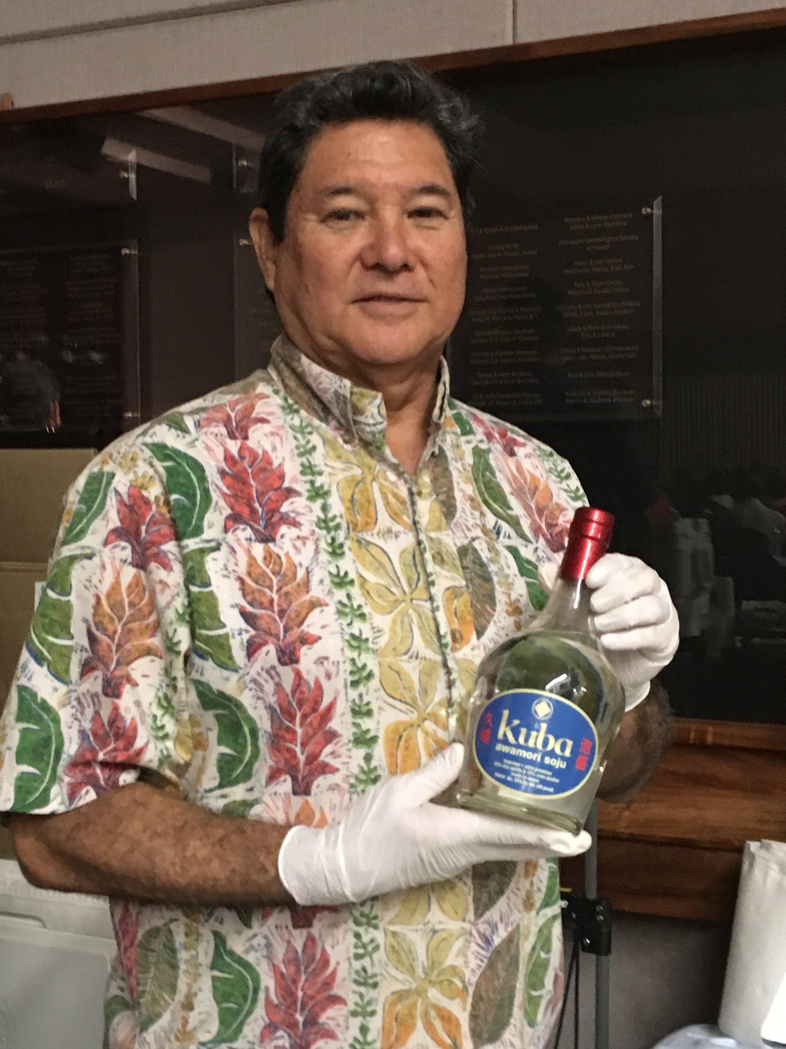 Randy Kuba and his signature Kuba Awamori.
