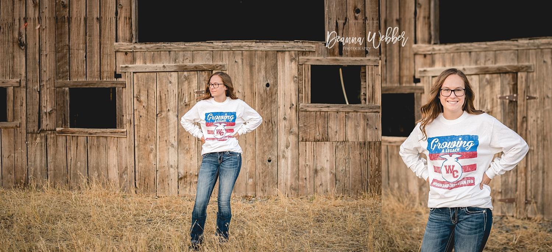 Charleston, SC Senior Photographer, senior girl, FFA shirt, rustic country location