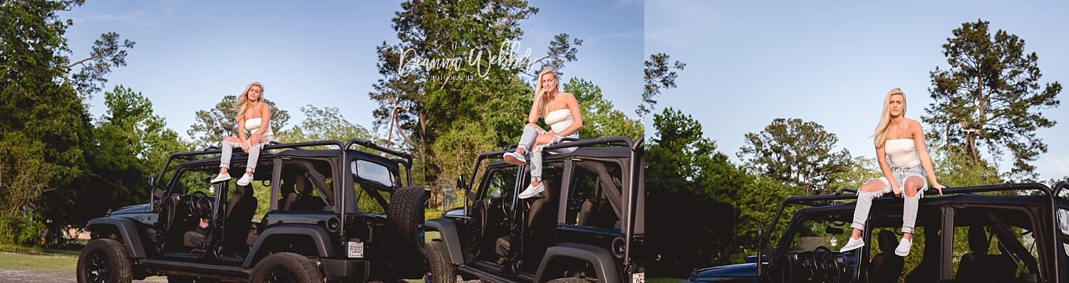 Charleston and Summerville SC cute skater girl themed senior session with jeep