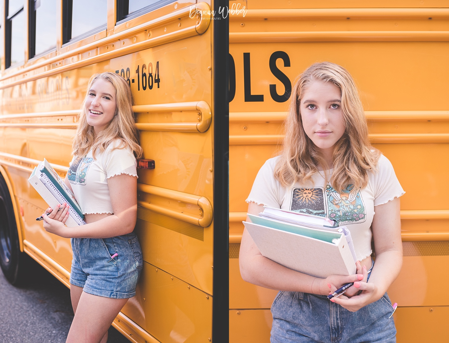 Charleston, Goose Creek, Summerville, Mount Pleasant South Carolina Photographer back to school themed session girl with school bus and books