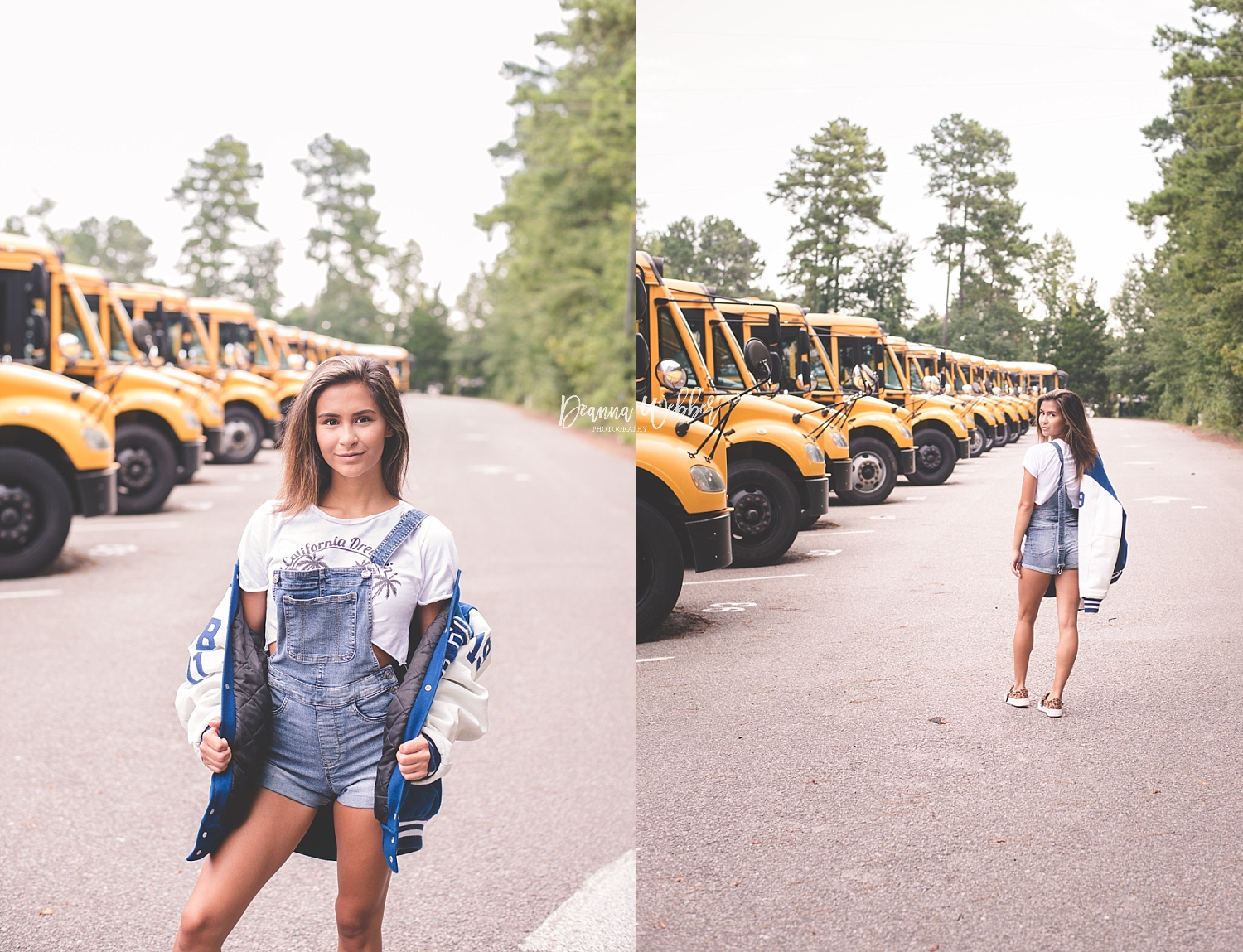 Charleston, Goose Creek, Summerville, Mount Pleasant South Carolina Photographer back to school themed session girl with school bus and letterman jacket
