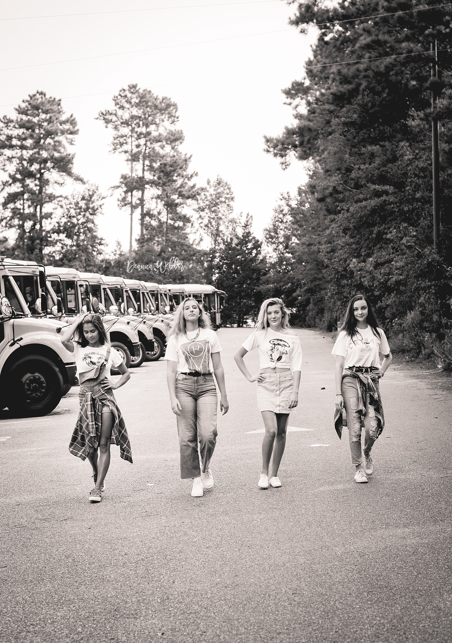 Charleston, Goose Creek, Summerville, Mount Pleasant South Carolina Photographer back to school themed session girls with school bus