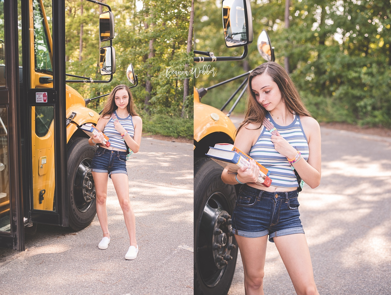 Charleston, Goose Creek, Summerville, Mount Pleasant South Carolina Photographer back to school themed session girl with school bus