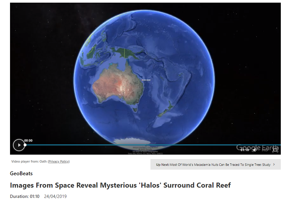 "MSNBC, ""Images From Space Reveal Mysterious 'Halos' Surround Coral Reef"""