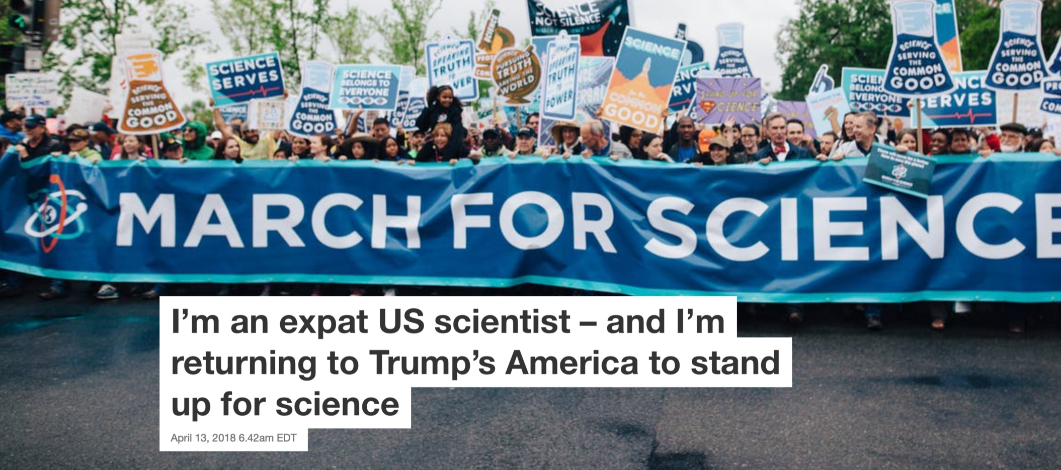 "The Conversation, ""I'm an Expat US Scientist and I'm Returning to Trump's America to Stand Up For Science"""