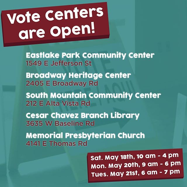 May 16th was the last day to mail your ballot. Don't worry, early voting starts today at 10!  For too long, district 8 has been left behind and left out of decisions that affect working families living in South Phoenix and Laveen. Our campaign is working to put people first in the City of Phoenix and bring an open door to city hall.  Find your polling location here or at carlosforphoenix.com/vote