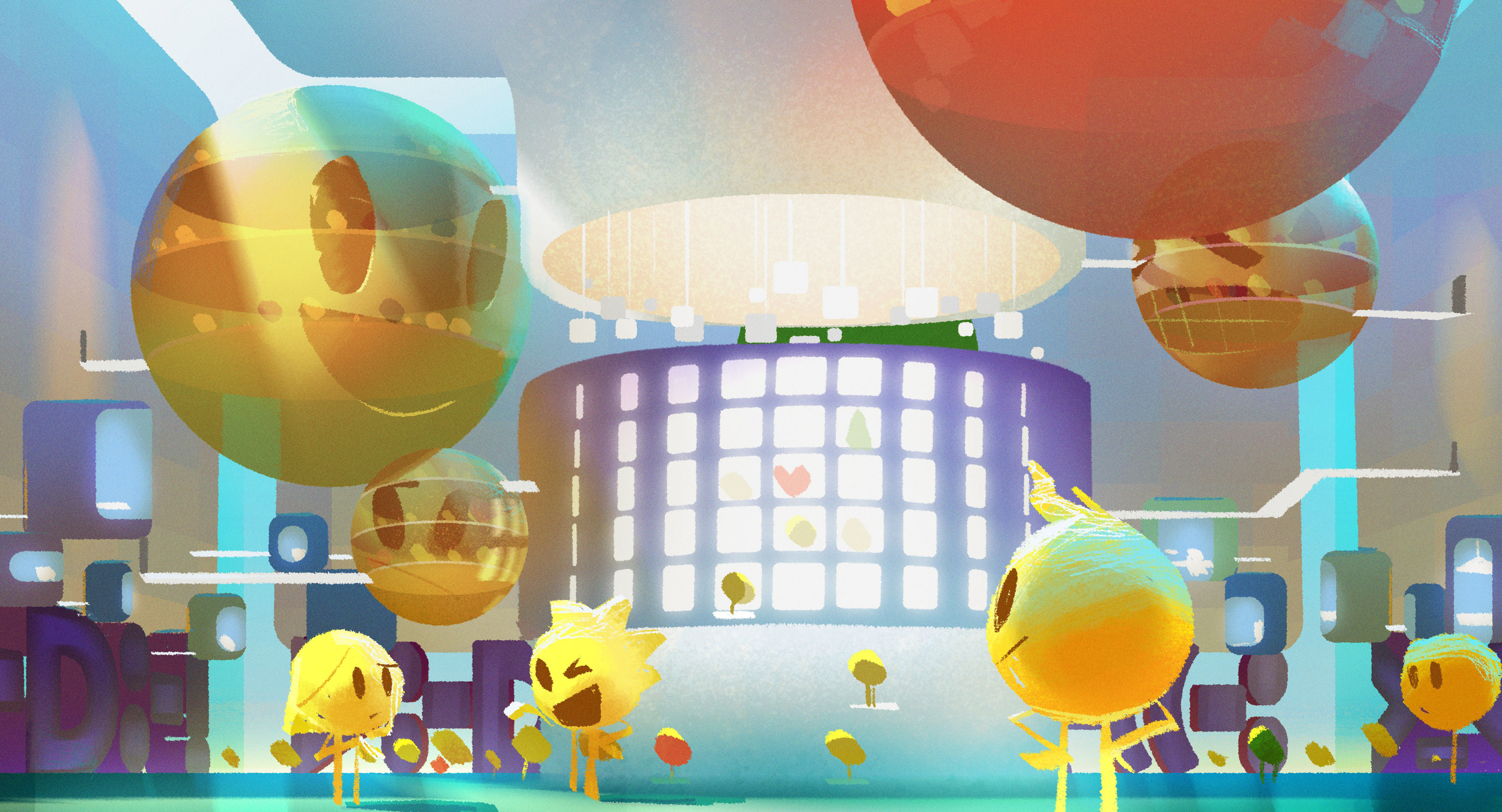 Concept art for the company amphitheater where the Emojis work.